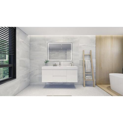 "MOENO 60"" SINGLE SINK HIGH GLOSS WHITE WALL MOUNTED MODERN BATHROOM VANITY WITH REEINFORCED ACRYLIC SINK"