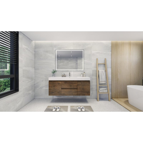 "MOENO 60"" SINGLE SINK ROSEWOOD WALL MOUNTED MODERN BATHROOM VANITY WITH REEINFORCED ACRYLIC SINK"