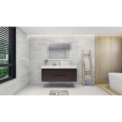 "MOENO 60"" SINGLE SINK BLACK GREY OAK WALL MOUNTED MODERN BATHROOM VANITY WITH REEINFORCED ACRYLIC SINK"