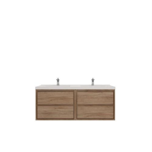 """Molly 60"""" Double Sink Teak Oak Wall Mounted Modern Vanity (New)"""