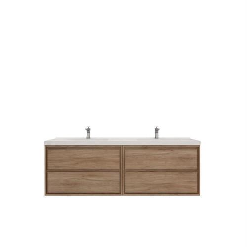 """Molly 72"""" Double Sink Teak Oak Wall Mounted Modern Vanity (New)"""