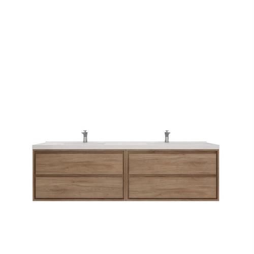 """Molly 84"""" Double Sink Teak Oak Wall Mounted Modern Vanity (New)"""