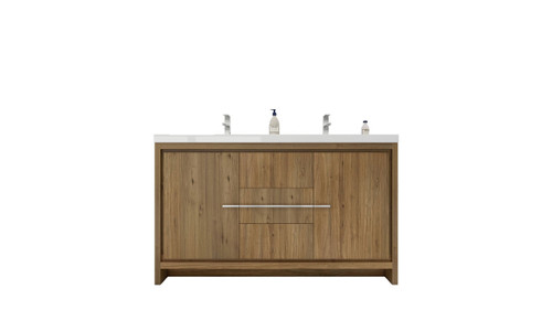 DOLCE 60'' DOUBLE SINK NATURAL OAK MODERN BATHROOM VANITY AND ACRYLIC SINK