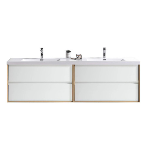 """SLIM 84"""" GLOSS WHITE WALL MOUNTED VANITY WITH REINFORCED ACRYLIC SINKS"""