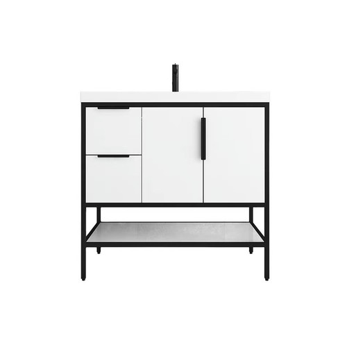 """MATTHEW 36"""" LEFT DRAWER GLOSSY WHITE FREESTANDING VANITY WITH REINFORCED ACRYLIC SINK"""