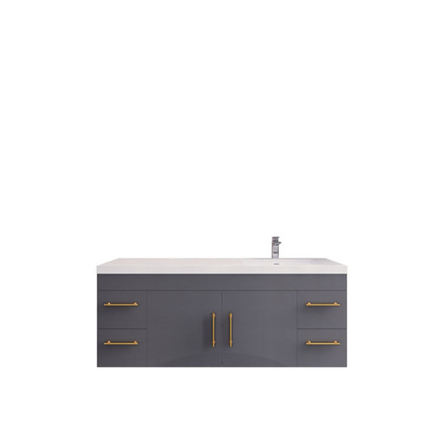 """ELSA 60"""" GLOSSY GREY WALL MOUNTED VANITY WITH RIGHT SINGLE SINK"""