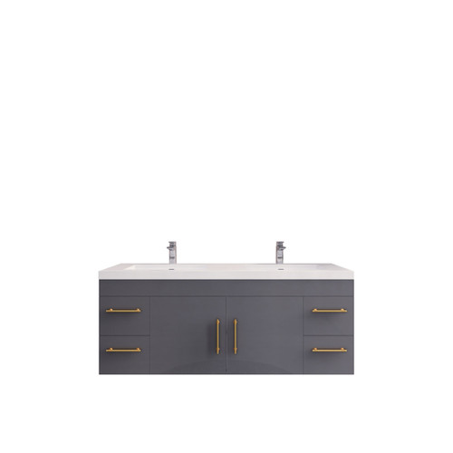 """ELSA 60"""" GLOSSY GRAY WALL MOUNTED VANITY WITH DOUBLE REINFORCED ACRYLIC SINK"""
