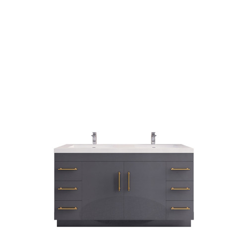 """ELSA 60"""" GLOSSY GRAY FREE STANDING VANITY WITH DOUBLE REINFORCED ACRYLIC SINK"""