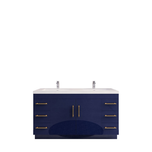 """ELSA 60"""" GLOSSY NIGHT BLUE FREE STANDING VANITY WITH DOUBLE REINFORCED ACRYLIC SINK"""