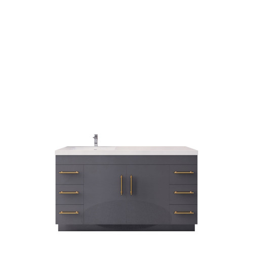 """ELSA 60"""" GLOSSY GRAY FREE STANDING VANITY WITH WITH LEFT SINGLE SINK"""