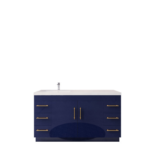 """ELSA 60"""" GLOSSY BLUE FREE STANDING VANITY WITH WITH LEFT SINGLE SINK"""