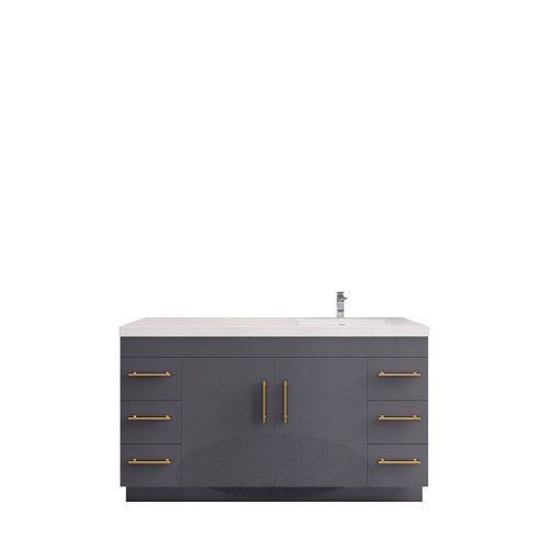 """ELSA 60"""" GLOSSY GRAY FREE STANDING VANITY WITH WITH RIGHT SINGLE SINK"""
