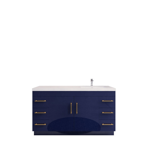 """ELSA 60"""" GLOSSY BLUE FREE STANDING VANITY WITH WITH RIGHT SINGLE SINK"""
