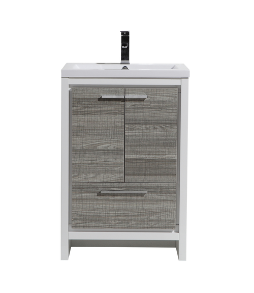 MORENO DOLCE 24″ ASH GRAY MODERN BATHROOM VANITY WITH 2 DOORS AND ACRYLIC SINK