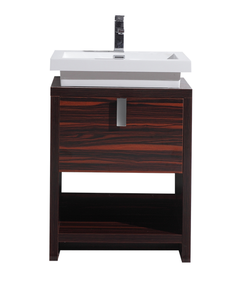 TONA LEVI 24 ″ HIGH GLOSS ROSE WALNUT MODERN BATHROOM VANITY W/ CUBBY HOLE