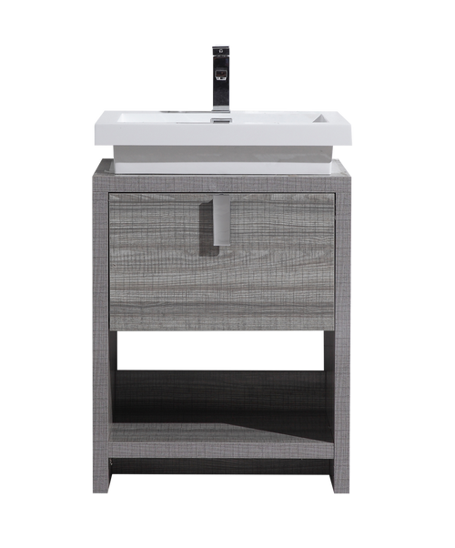 TONA LEVI 24″ HIGH GLOSS ASH GREY MODERN BATHROOM VANITY W/ CUBBY HOLE