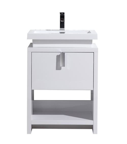TONA LEVI 24″ HIGH GLOSS WHITE MODERN BATHROOM VANITY W/ CUBBY HOLE