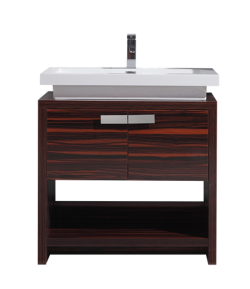 TONA LEVI 32 ″ HIGH GLOSS ROSE WALNUT MODERN BATHROOM VANITY W/ CUBBY HOLE