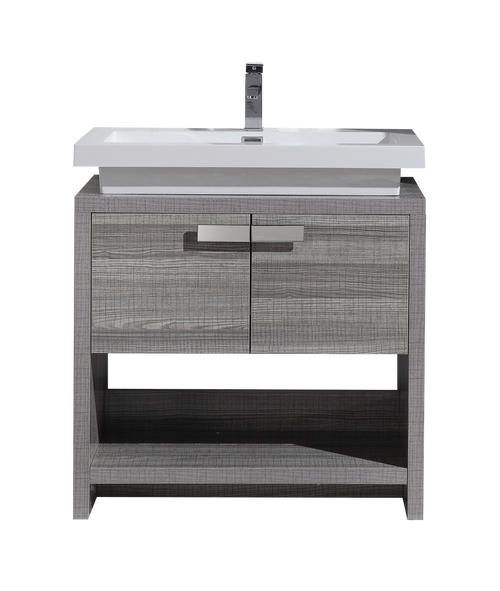 TONA LEVI 32″ HIGH GLOSS ASH GREY MODERN BATHROOM VANITY W/ CUBBY HOLE
