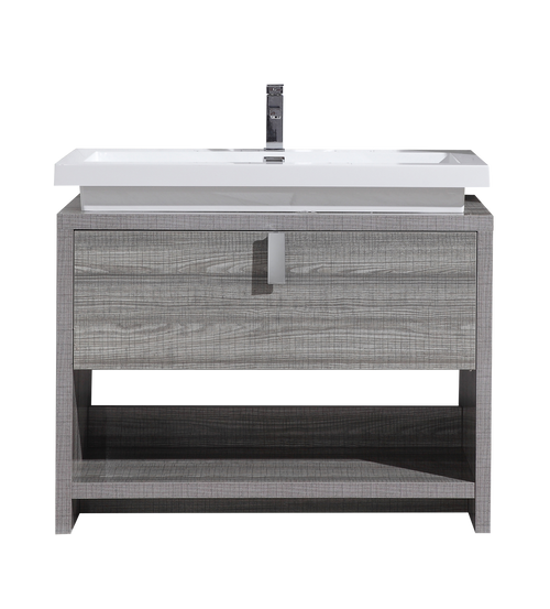 TONA LEVI 40″ HIGH GLOSS ASH GREY MODERN BATHROOM VANITY W/ CUBBY HOLE