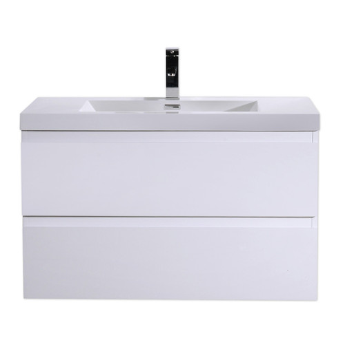 "MORENO MOB 36"" HIGH GLOSS WHITE WALL MOUNTED MODERN BATHROOM VANITY WITH REEINFORCED ACRYLIC SINK"