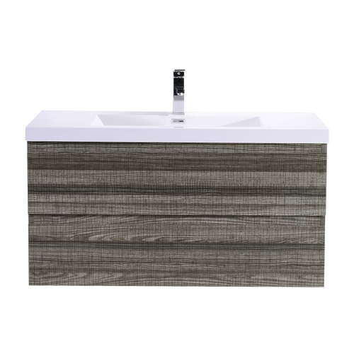 "MORENO MOB 42"" HIGH GLOSS ASH GREY WALL MOUNTED MODERN BATHROOM VANITY WITH REEINFORCED ACRYLIC SINK"