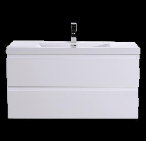 "MORENO MOB 42"" HIGH GLOSS WHITE WALL MOUNTED MODERN BATHROOM VANITY WITH REEINFORCED ACRYLIC SI"