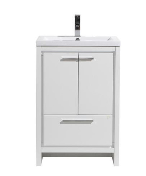 DOLCE 24'' HIGH GLOSS WHITE MODERN BATHROOM VANITY AND ACRYLIC SINK