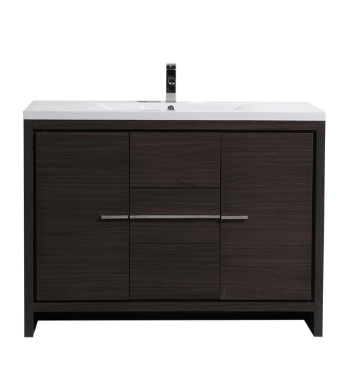 MORENO DOLCE 48″ DARK GRAY OAK MODERN BATHROOM VANITY W/ 2 DOORS 3 DRAWERS AND ACRYLIC SINK