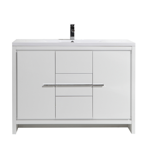 MORENO DOLCE 48'' HIGH GLOSS WHITE MODERN BATHROOM VANITY W/ 2 DOORS 3 DRAWERS AND ACRYLIC SINK