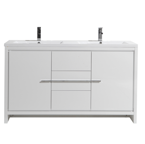 MORENO DOLCE 60″ DOUBLE SINK HIGH GLOSS WHITE MODERN BATHROOM VANITY W/ 2 DOORS 3 DRAWERS AND ACRYLIC SINK