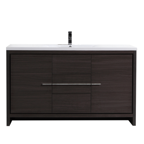 MORENO DOLCE 60″ SIGNLE SINK DARK GRAY OAK MODERN BATHROOM VANITY W/ 2 DOORS 3 DRAWERS AND ACRYLIC SINK