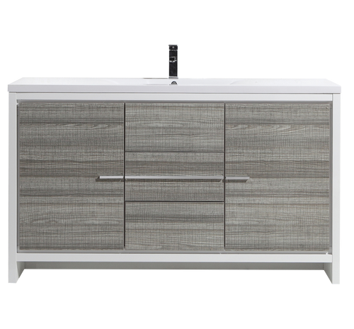 MORENO DOLCE 60″ SIGNLE SINK ASH GRAY MODERN BATHROOM VANITY W/ 2 DOORS 3 DRAWERS AND ACRYLIC SINK