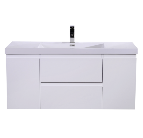 """MORENO MOB 48"""" HIGH GLOSS WHITE WALL MOUNTED MODERN BATHROOM VANITY WITH REEINFORCED ACRYLIC SINK"""