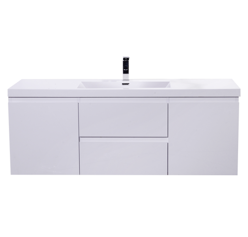 "MORENO MOB 60"" SINGLE SINK HIGH GLOSS WHITE WALL MOUNTED MODERN BATHROOM VANITY WITH REEINFORCED ACRYLIC SINK"
