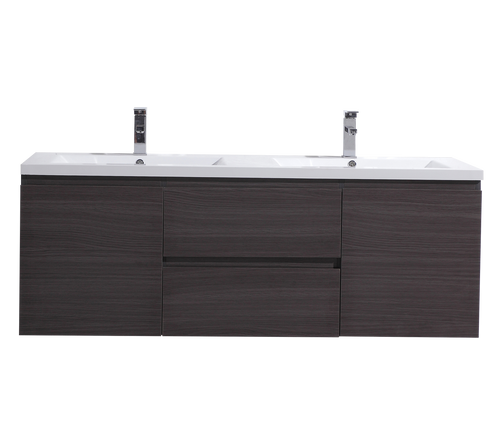 "MORENO MOB 60"" DOUBLE SINK BLACK GREY OAK WALL MOUNTED MODERN BATHROOM VANITY WITH REEINFORCED ACRYLIC SINK"
