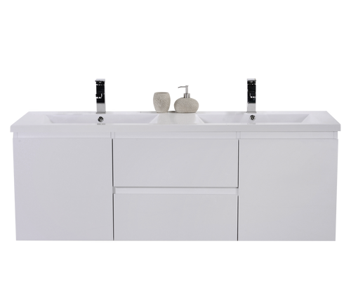 "MORENO MOB 60"" DOUBLE SINK HIGH GLOSS WHITE WALL MOUNTED MODERN BATHROOM VANITY WITH REEINFORCED ACRYLIC SINK"