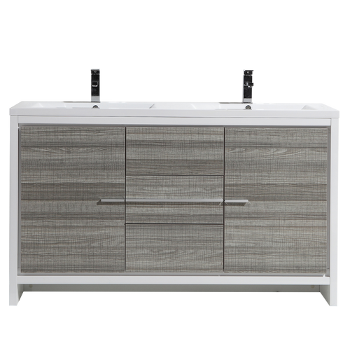 MORENO DOLCE 60″ DOUBLE SINK ASH GRAY MODERN BATHROOM VANITY W/ 2 DOORS 3 DRAWERS AND ACRYLIC SINK
