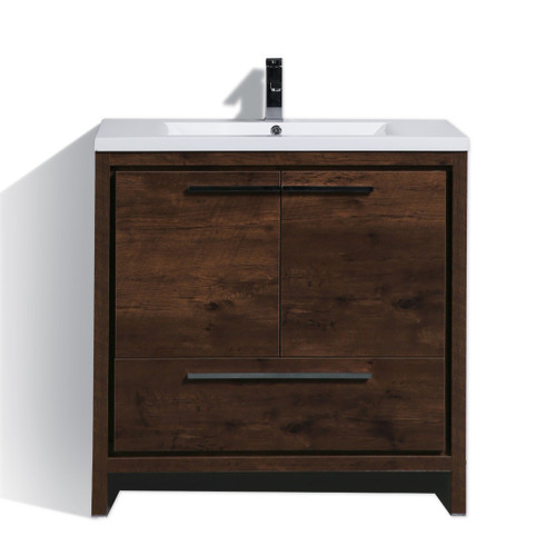 DOLCE 36'' ROSE WOOD MODERN BATHROOM VANITY AND ACRYLIC SINK