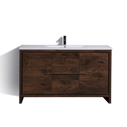 DOLCE 60'' ROSE WOOD MODERN BATHROOM VANITY AND ACRYLIC SINK