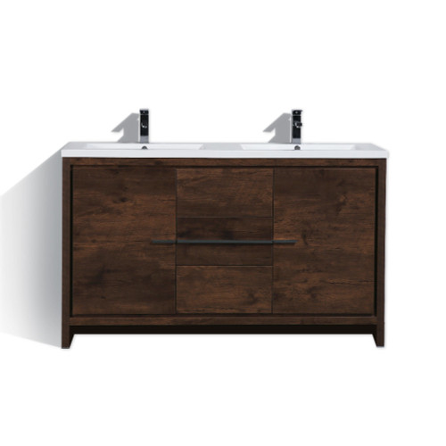 DOLCE 60'' DOUBLE SINK ROSE WOOD MODERN BATHROOM VANITY AND ACRYLIC SINK