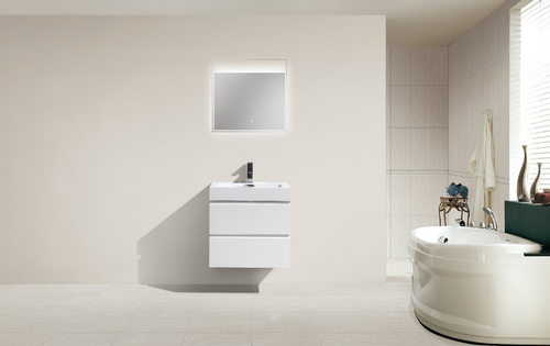 "MORENO MOF 24"" HIGH GLOSS WHITE WALL MOUNTED MODERN BATHROOM VANITY WITH REEINFORCED ACRYLIC SINK"