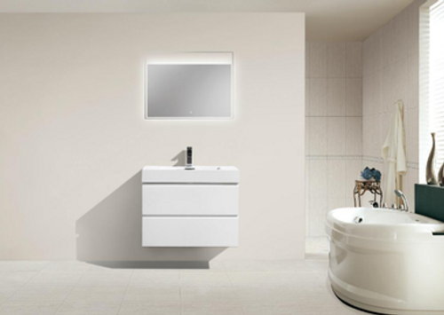 "MORENO MOF 30"" HIGH GLOSS WHITE WALL MOUNTED MODERN BATHROOM VANITY WITH REEINFORCED ACRYLIC SINK"