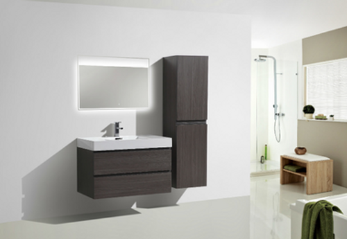 "MORENO MOF 36"" DARK GREY OAK WALL MOUNTED MODERN BATHROOM VANITY WITH REEINFORCED ACRYLIC SINK"