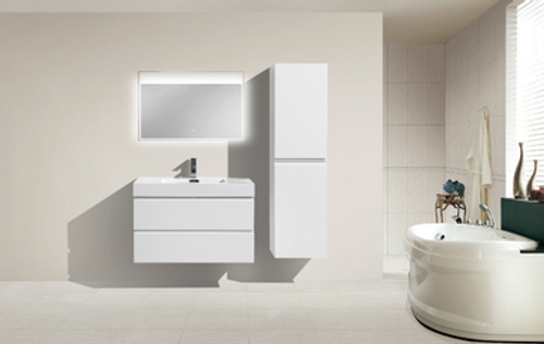 "MORENO MOF 36"" HIGH GLOSS WHITE WALL MOUNTED MODERN BATHROOM VANITY WITH REEINFORCED ACRYLIC SINK"