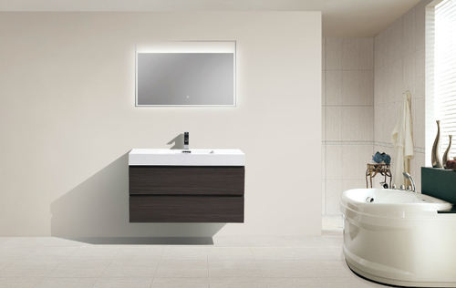 "MORENO MOF 40"" DARK GREY OAK WALL MOUNTED MODERN BATHROOM VANITY WITH REEINFORCED ACRYLIC SINK"