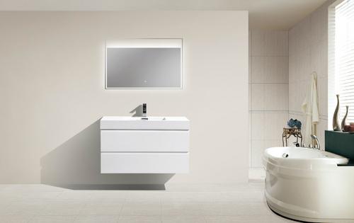 "MORENO MOF 40"" HIGH GLOSS WHITE WALL MOUNTED MODERN BATHROOM VANITY WITH REEINFORCED ACRYLIC SINK"