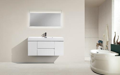 "MORENO MOF 48"" HIGH GLOSS WHITE WALL MOUNTED MODERN BATHROOM VANITY WITH REEINFORCED ACRYLIC SINK"