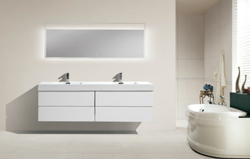"MORENO MOF 72"" HIGH GLOSS WHITE WALL MOUNTED MODERN BATHROOM VANITY WITH REEINFORCED ACRYLIC SINK"