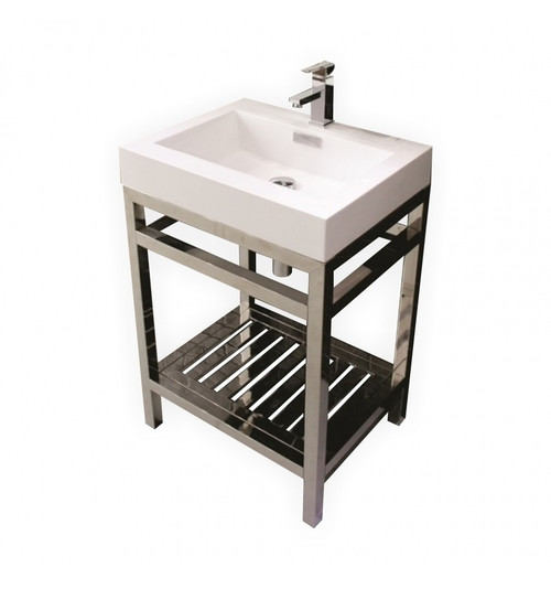 "Aqua Cisco 30"" Stainless Steel Console w/ White Acrylic Sink - Chrome"